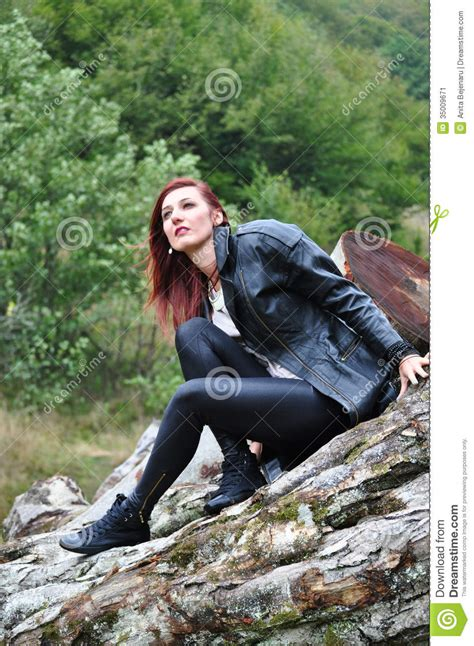 portrait   woman   forest stock image image