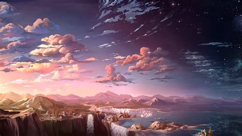 wallpaper hd anime landscape 1360x768 anime landscape waterfall cloud 5k laptop hd hd