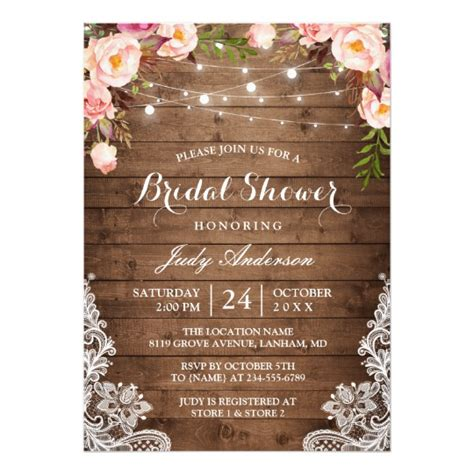 zazzle rustic bridal shower invitations rustic string lights lace floral bridal shower card