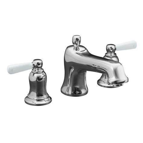 kohler bathtub faucets kohler bancroft deck mount bath faucet trim with white ceramic lever handles in polished chrome