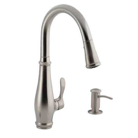 pull kitchen faucet kohler cruette single handle pull sprayer kitchen faucet in vibrant stainless k r780 vs