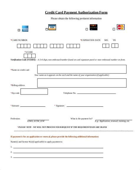 Sle Credit Card Authorization Form 12 Free Documents In Word Pdf Credit Card On File Authorization Form Template