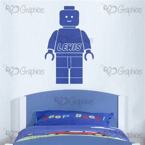 pleasing your man in the bedroom personalised name lego man wall art boys room sticker
