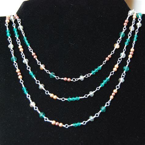 beaded wire three strand wire wrapped beaded necklace