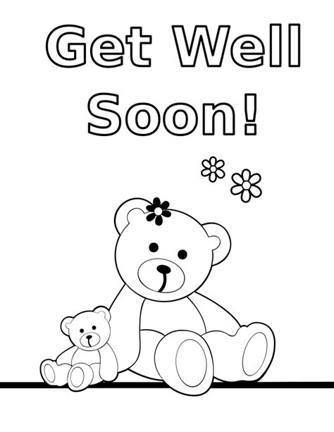 get well soon card template black and white clipart coloring quot get well soon quot teddy card