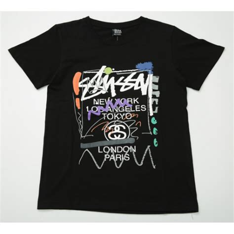 Stussy T Shirt stussy color scribble t shirt black