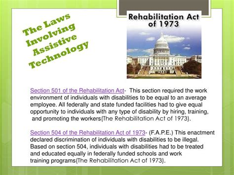 section 501 of the rehabilitation act of 1973 ppt assistive technology assignment a hughes