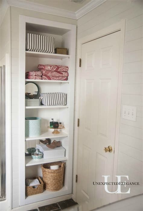 built in wall shelves bathroom diy built in shelving for my bathroom unexpected elegance
