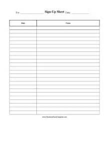 Printable Sign Up Sheet Template Free by Food Sign Up Sheets Printable