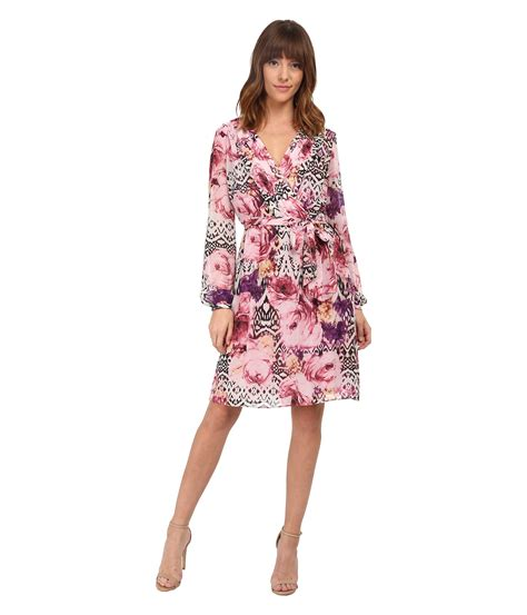 sleeve floral dress lyst chiffon sleeve floral dress in
