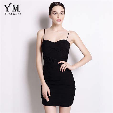 Black Lussile Katun Mini Dress yuoomuoo new bodycon dress black dress spaghetti club mini dress