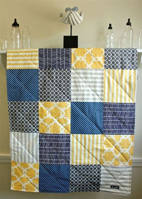 Navy And Gray Quilt Baby Quilt Navy Grey And Yellow Gender Neutral Crib
