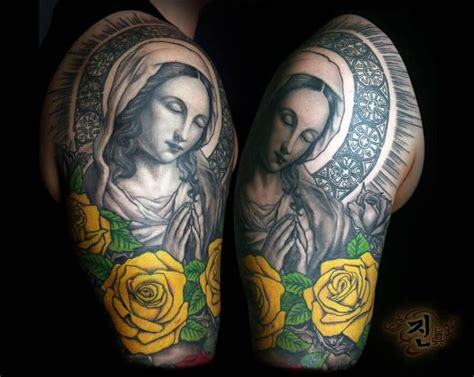 virgin mary with roses tattoo 62 best and tattoos for images on
