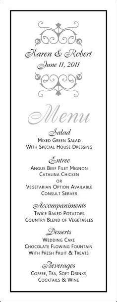 formal menu card template free printable rustic wedding stationery trees garter