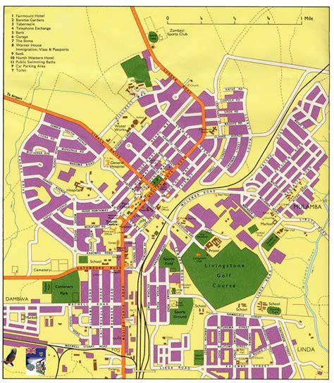 map of lusaka city livingstone zambia tourist map livingstone city zambia