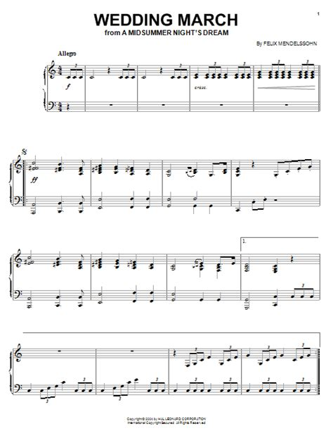 Wedding Song Notes For Piano by Wedding March Sheet By Felix Mendelssohn Piano 27021