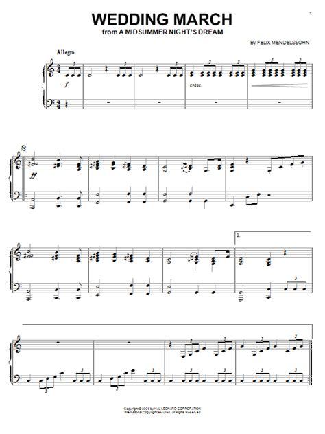 Wedding March Piano by Wedding March Sheet By Felix Mendelssohn Piano 27021