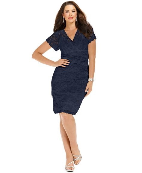 plus size cocktail dress with sleeves marina plus size cap sleeve lace cocktail dress in blue lyst