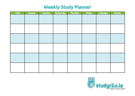 weekly study planner template blank revision timetable new calendar template site