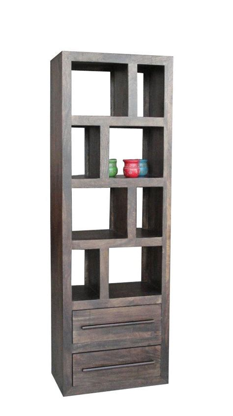 Mango Wood Narrow Bookcase With Two Drawers Dark Or Light Narrow Wooden Bookcase