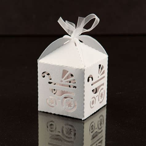 Favor Boxes Baby Shower by 24 Pack Gift White Bow Carriage Favor Box Baby