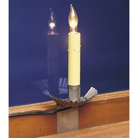 Window Sill Lights Window Candles Set Of Four 4 Primitive Crimped Tin Sill