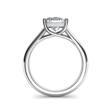 lucida wide band princess cut solitaire engagement