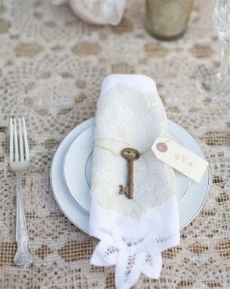 Keyboard Napkin Idea by Add Vintage Key To Lace Trim Napkin Table Top Decor Place