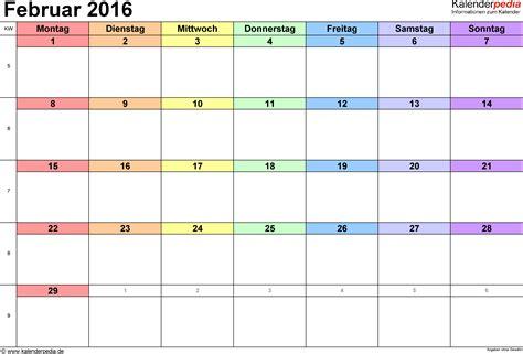 Word Vorlage Jahreskalender 2016 Kalender Februar 2016 Als Word Vorlagen