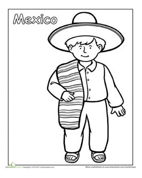 Multicultural Coloring Pages Preschool | multicultural coloring mexico around the worlds