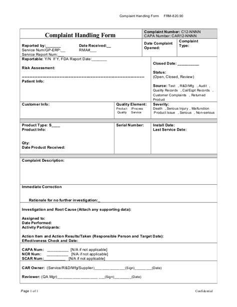 Market Complaint Investigation Report Template