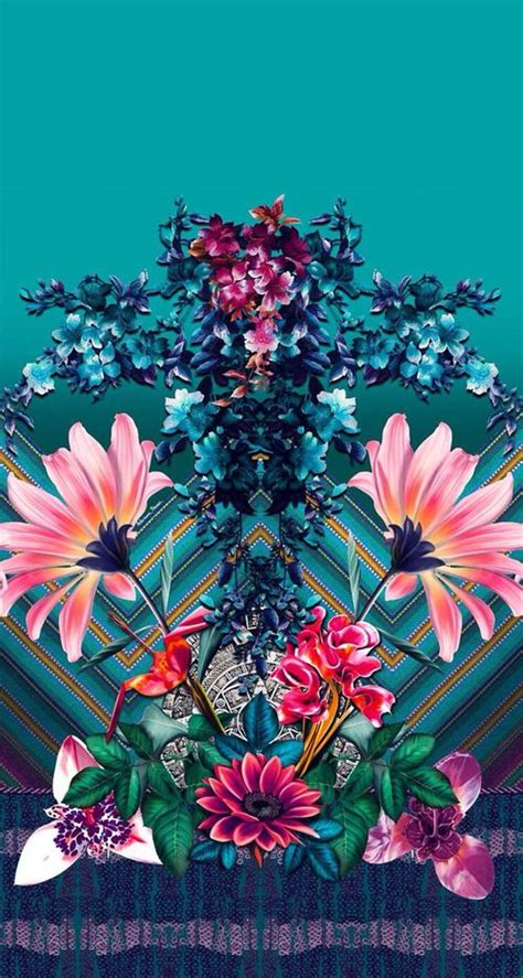 flower pattern lock blue turquoise pink tropical flowers botanical art iphone