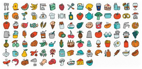 doodle food icons doodle icon set icons