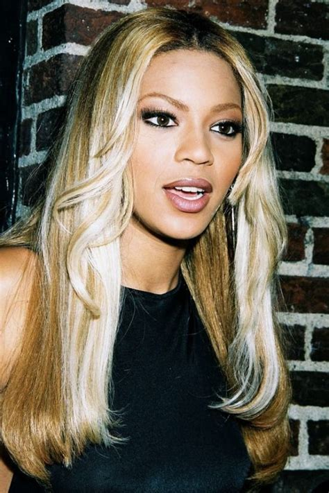 long hairstyles in the 90s beyonce with a tonged white blonde look from the 90s