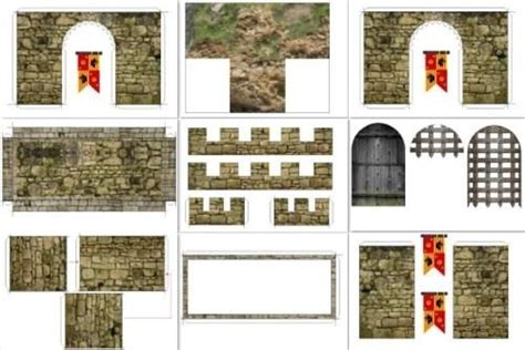 medieval castle facade for mini figures in 1 25 scale by