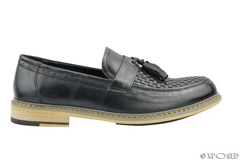 mod tassel loafers mens black woven real leather tassel loafers smart mod