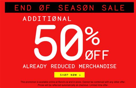 bench canada sale bench canada end of season sale get an additional 50 off already reduced merchandise
