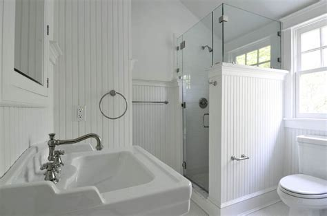 open airy bath with wainscoting bathrooms