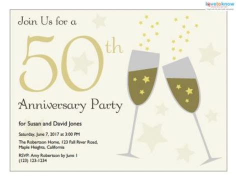 50th wedding anniversary card templates free printable 50th anniversary invitation