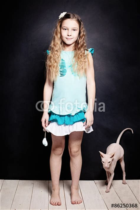 Khloe Slip In Instant White No 13 quot and kitten child with cat two friends quot stock photo
