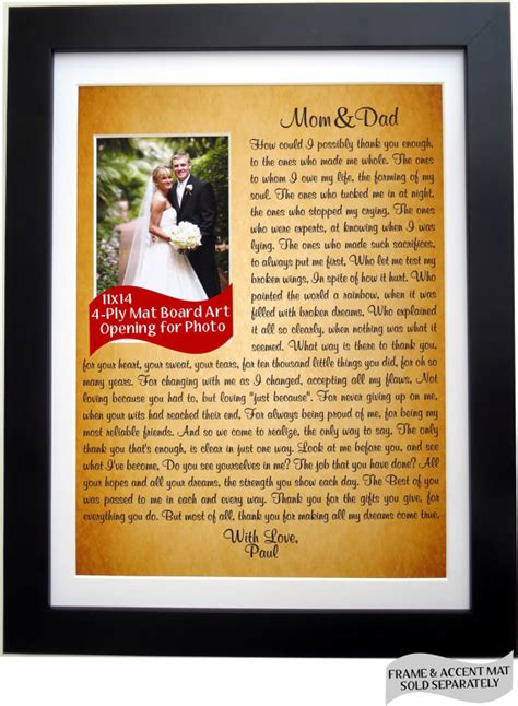 Parent Thank You Letter Wedding Parent Wedding Gift Personalized Thank You Gift For By Picmats