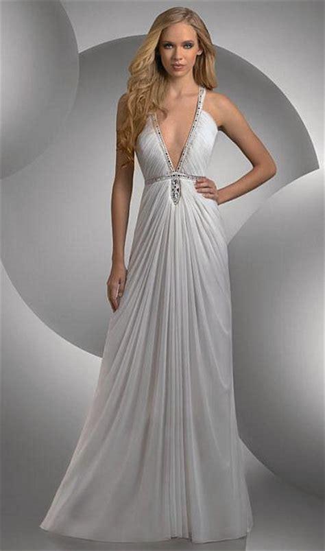 V Bj Rina Wolfis shimmer plunging v neck grecian prom dress 59400 by bari novelty