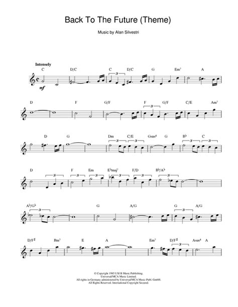 theme music back to the future back to the future theme sheet music by alan silvestri