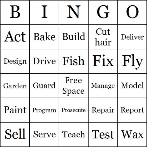 Job Actions Bingo Cards