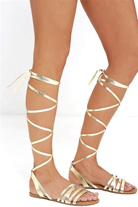 leg wrap sandals gold sandals flat sandals leg wrap sandals 19 00