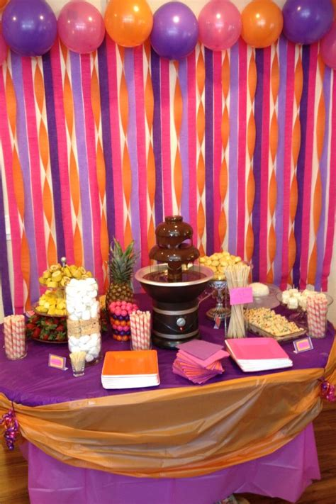 Country Wedding Reception Decorations Chocolate Fountain With Bananas Strawberries Pineapple