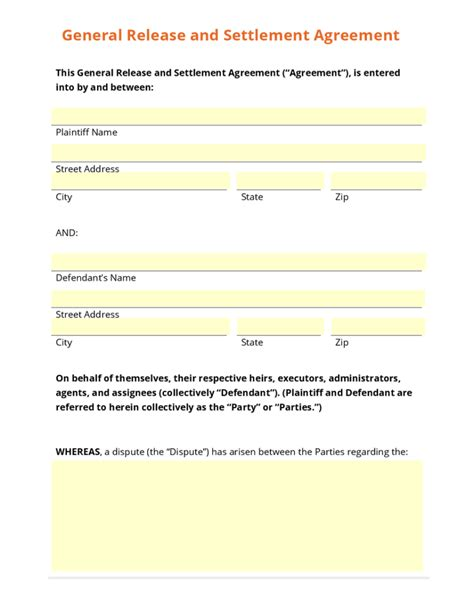 Settlement And Release Sle Templates Sles And Templates Settlement Agreement And Release Of All Claims Template
