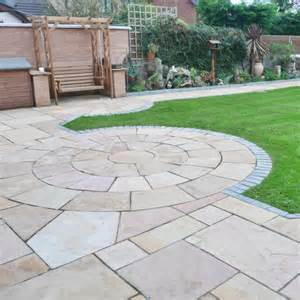 Pointing Patio Slabs Bradstone Natural Sandstone Paving Sunset Buff 3 Ring