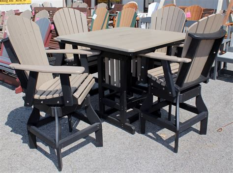 adirondack table and chairs poly 44 square bar height table and adirondack swivel bar