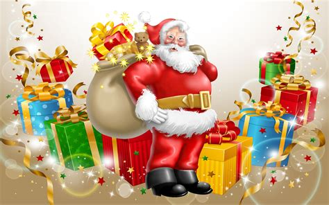 santa claus happy new year and merry christmas gifts for
